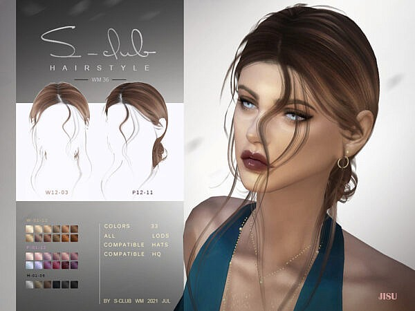 Natural windy hairstyles with bun JISU by S   Club ~ The Sims Resource for Sims 4