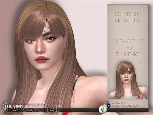 Sclub`s N83 Hair Retextured by PlayersWonderland ~ The Sims Resource for Sims 4