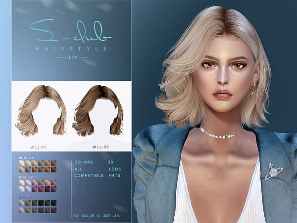 Short curly hairstyle by S Club ~ The Sims Resource for Sims 4