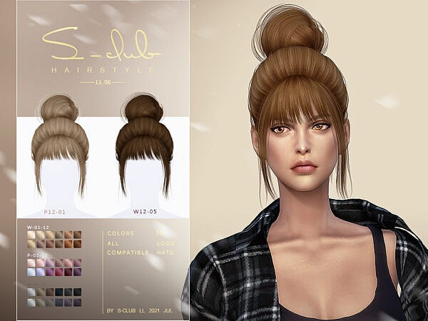 The bun with bangs hair by S   Club ~ The Sims Resource for Sims 4