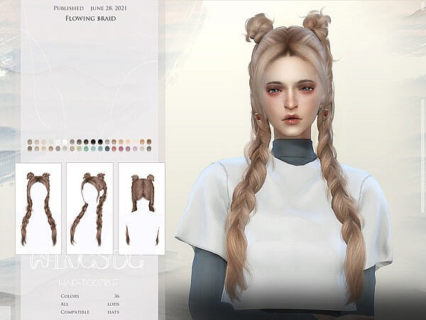 WINGS TO0718 Playful braid ~ The Sims Resource for Sims 4
