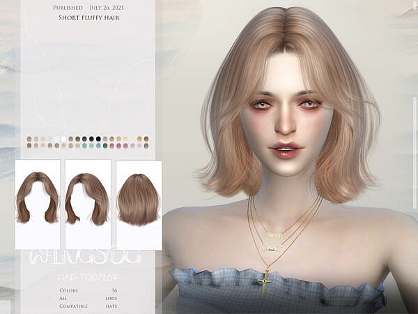 WINGS TO0726 Short fluffy hair ~ The Sims Resource for Sims 4