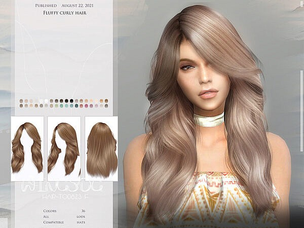 WINGS TO0823 Fluffy curly hair ~ The Sims Resource for Sims 4