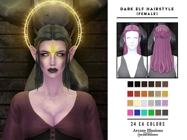 Arcane Illusions   Dark Elf Hairstyle ~ The Sims Resource for Sims 4