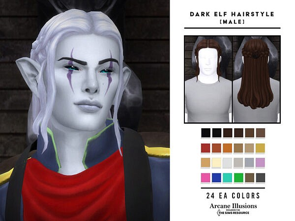 Arcane Illusions   Dark Elf Hair ~ The Sims Resource for Sims 4