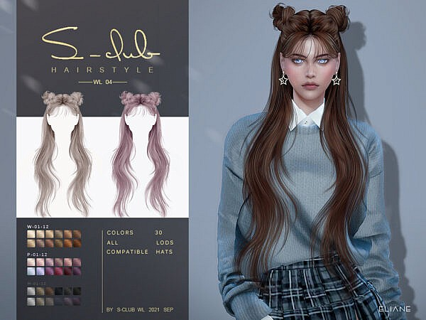Long straight hairstyle with buns ~ The Sims Resource for Sims 4