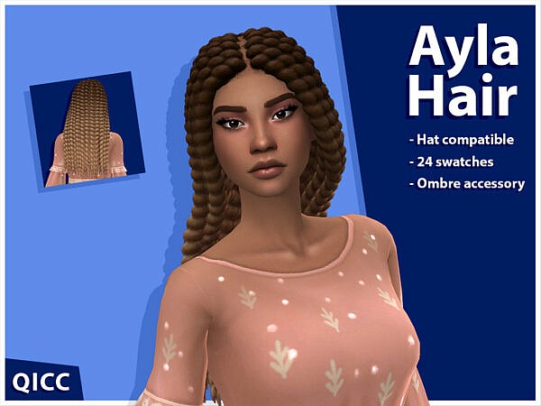 Ayla Hair Set by qicc ~ The Sims Resource for Sims 4
