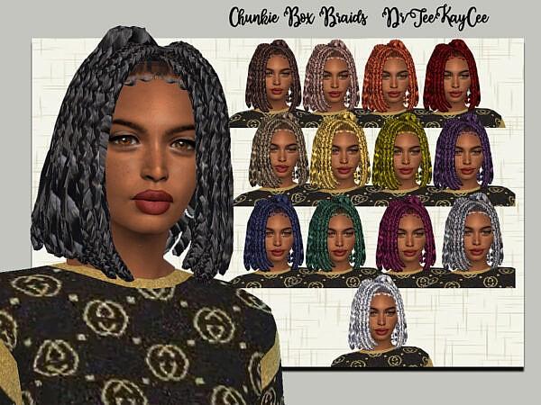 Chunkie Box Braids by drteekaycee ~ The Sims Resource for Sims 4