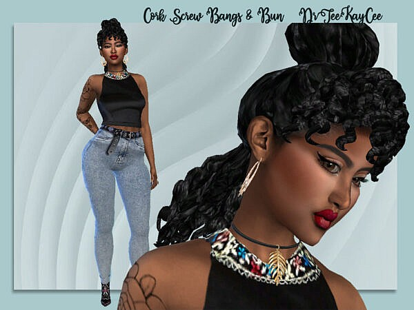 Cork Screw Bangs and Bun by drteeka ~ The Sims Resource for Sims 4