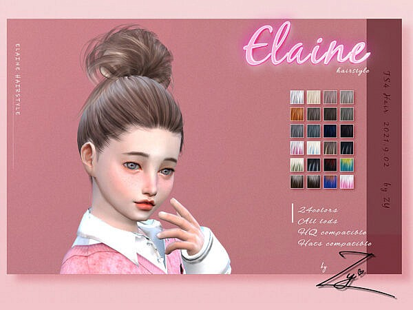 Elaine hairstyle by Zy ~ The Sims Resource for Sims 4