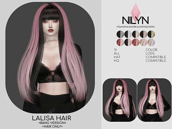 Lalisa Hairstyle Bangs Version ~ Nilyn Sims 4 for Sims 4