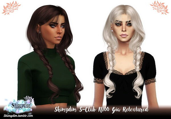 S Club`s N100 Gia Hair Retexture ~ Shimydim for Sims 4