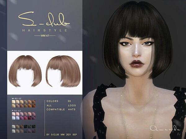 Short bob cut hair Amanda ~ The Sims Resource for Sims 4