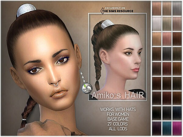 Amikos Hair by BAkalia ~ The Sims Resource for Sims 4