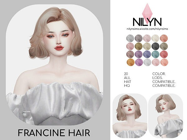 Francine Hair by Nilyn ~ The Sims Resource for Sims 4