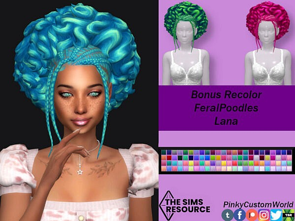 FeralPoodles Lana hair recolored by PinkyCustomWorld ~ The Sims Resource for Sims 4