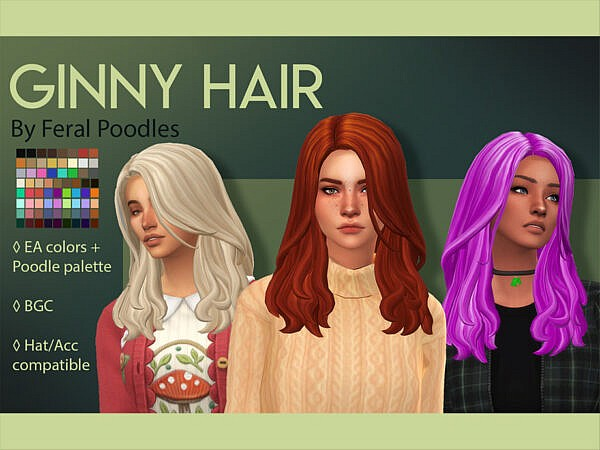 Ginny Hair by  feralpoodles ~ The Sims Resource for Sims 4