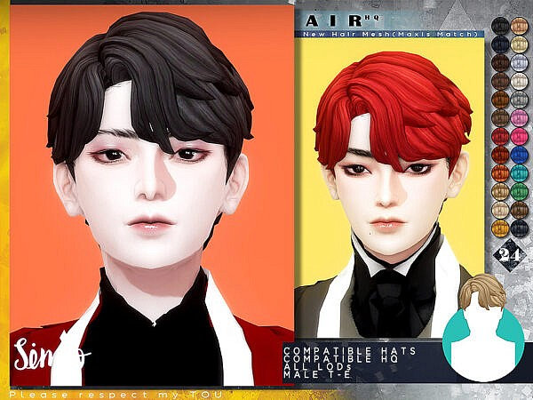 Male Hairstyle Air by KIMSimjo ~ The Sims Resource for Sims 4