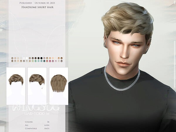 Handsome short hair by wingssims ~ The Sims Resource for Sims 4