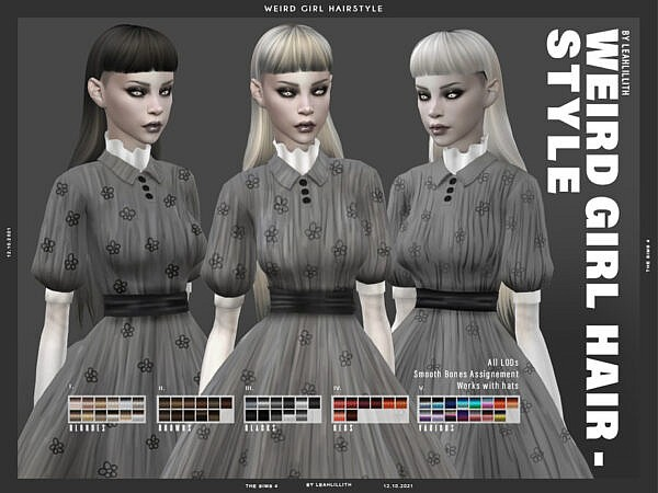 Weird Girl Hairstyle by Leah Lillith ~ The Sims Resource for Sims 4