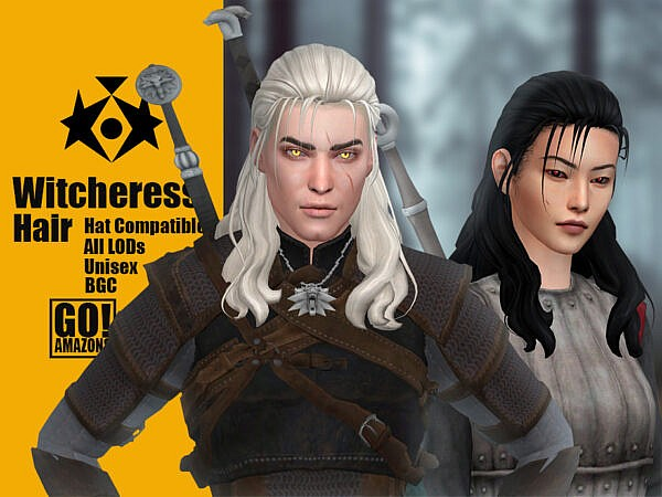 Witcheress Hair by GoAmazons ~ The Sims Resource for Sims 4